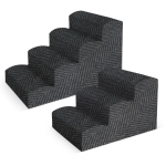 "Pura Naturals Pet Fabric Pet Stairs, 4 Step Large XL  (21"" x 21"" x 34""), Charcoal"