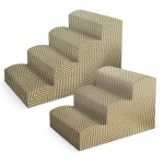 "Pura Naturals Pet Fabric Pet Stairs, 4 Step Large XL  (21"" x 21"" x 34""), Ivory"