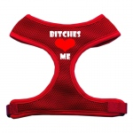 Bitches Love Me Soft Mesh Harnesses Red Large