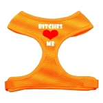 Bitches Love Me Soft Mesh Harnesses Orange Medium