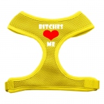 Bitches Love Me Soft Mesh Harnesses Yellow Medium