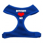 Bitches Love Me Soft Mesh Harnesses Blue Extra Large