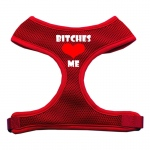Bitches Love Me Soft Mesh Harnesses Red Extra Large
