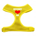 Bitches Love Me Soft Mesh Harnesses Yellow Extra Large