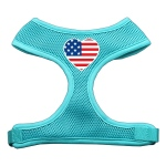 Heart Flag USA Screen Print Soft Mesh Harness Aqua Medium