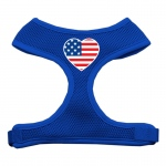 Heart Flag USA Screen Print Soft Mesh Harness Blue Medium