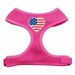 Heart Flag USA Screen Print Soft Mesh Harness Pink Medium