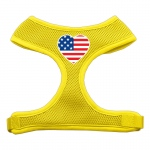 Heart Flag USA Screen Print Soft Mesh Harness Yellow Medium