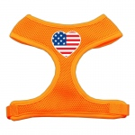 Heart Flag USA Screen Print Soft Mesh Harness Orange Small