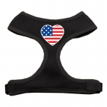 Heart Flag USA Screen Print Soft Mesh Harness Black Extra Large