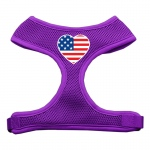 Heart Flag USA Screen Print Soft Mesh Harness Purple Extra Large