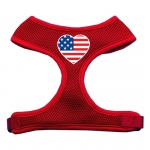 Heart Flag USA Screen Print Soft Mesh Harness Red Extra Large
