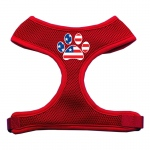 Paw Flag USA Screen Print Soft Mesh Harness Red Medium