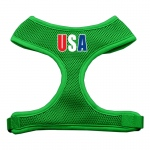USA Star Screen Print Soft Mesh Harness Emerald Green Large