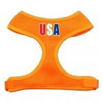 USA Star Screen Print Soft Mesh Harness Orange Large