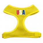 USA Star Screen Print Soft Mesh Harness Yellow Large