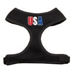 USA Star Screen Print Soft Mesh Harness Black Medium