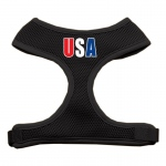 USA Star Screen Print Soft Mesh Harness Black Small