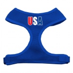 USA Star Screen Print Soft Mesh Harness Blue Small