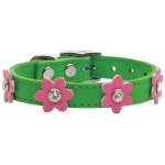 Flower Leather Emerald Green w/ Pink Flowers 10
