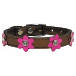 Flower Leather Bronze w/ Mtl Pink Flowers 12