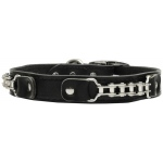 Bike Chain Leather Collar Black 24