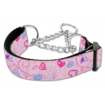 Crazy Hearts Nylon Collars Martingale Light Pink Large