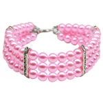 Three Row Pearl Necklace Light Pink Lg (12-14)