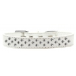 Sprinkles Dog Collar Clear Crystals Size 14 White