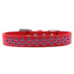 Sprinkles Dog Collar Blue Crystals Size 16 Red