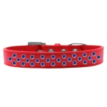 Sprinkles Dog Collar Blue Crystals Size 18 Red