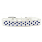 Sprinkles Dog Collar Blue Crystals Size 20 White