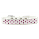 Sprinkles Dog Collar Bright Pink Crystals Size 12 White