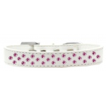Sprinkles Dog Collar Bright Pink Crystals Size 16 White