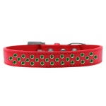 Sprinkles Dog Collar Emerald Green Crystals Size 14 Red