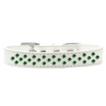 Sprinkles Dog Collar Emerald Green Crystals Size 18 White