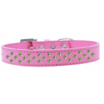 Sprinkles Dog Collar Lime Green Crystals Size 12 Bright Pink