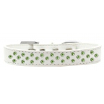 Sprinkles Dog Collar Lime Green Crystals Size 14 White