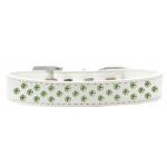 Sprinkles Dog Collar Lime Green Crystals Size 20 White