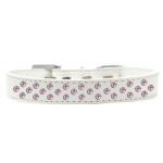 Sprinkles Dog Collar Light Pink Crystals Size 16 White