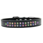Two Row Confetti Crystal Size 18 Black Dog Collar