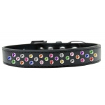 Sprinkles Dog Collar Confetti Crystals Size 16 Black