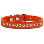 One Row Clear Jeweled Leather Orange 14
