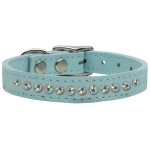 One Row AB Jeweled Leather Baby Blue 14