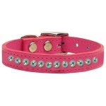 One Row AB Jeweled Leather Pink 14