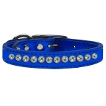 One Row AB Crystal Metallic Leather Blue 12