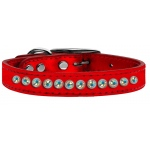 One Row AB Crystal Metallic Leather Red 14