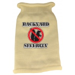 Back Yard Security Screen Print Knit Pet Sweater XS Cream