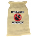 Back Yard Security Screen Print Knit Pet Sweater MD Cream