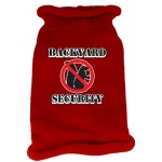 Back Yard Security Screen Print Knit Pet Sweater MD Red